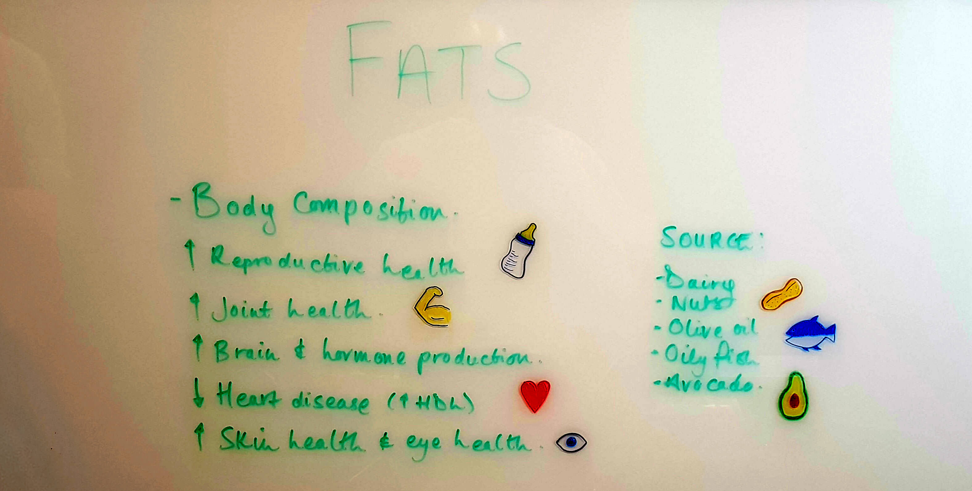 Fats help with Body composition, reproductive health and hormone production