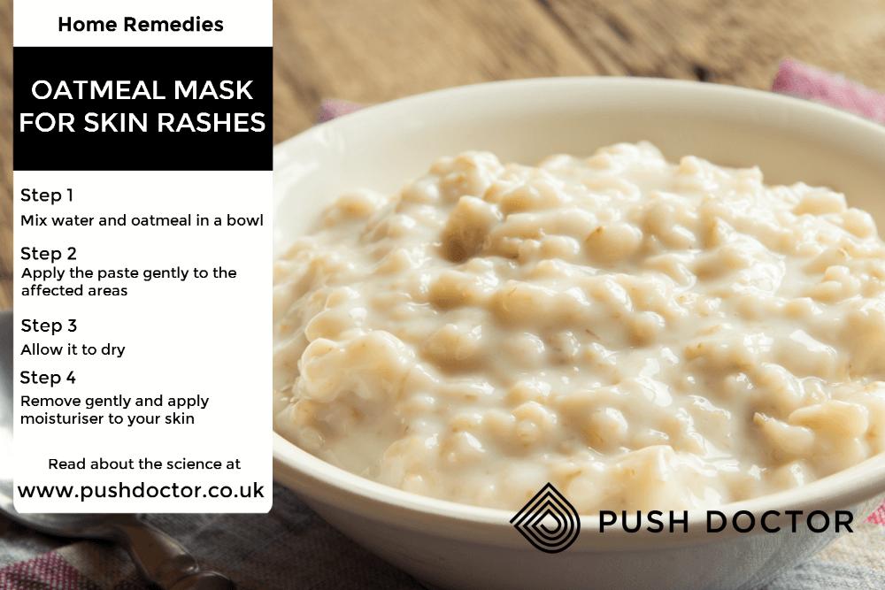 Homemade oatmeal paste for skin rashes.