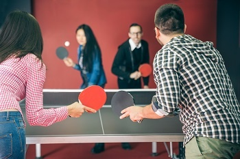 Playing table tennis