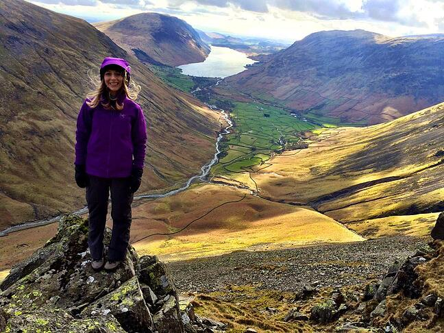 Lauren Robinson looking out over the landscape on top of the great gable mountain for Fresh Air Friday