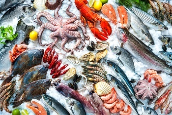 Seafood on a market stall