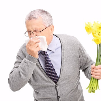 man with hay fever