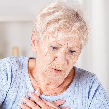 elderly woman at risk of chest infection
