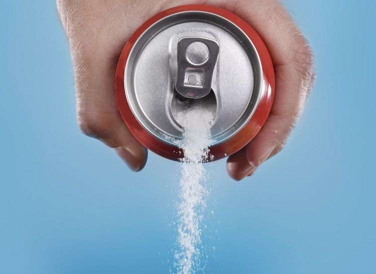 The sugar content in a can of soft drink