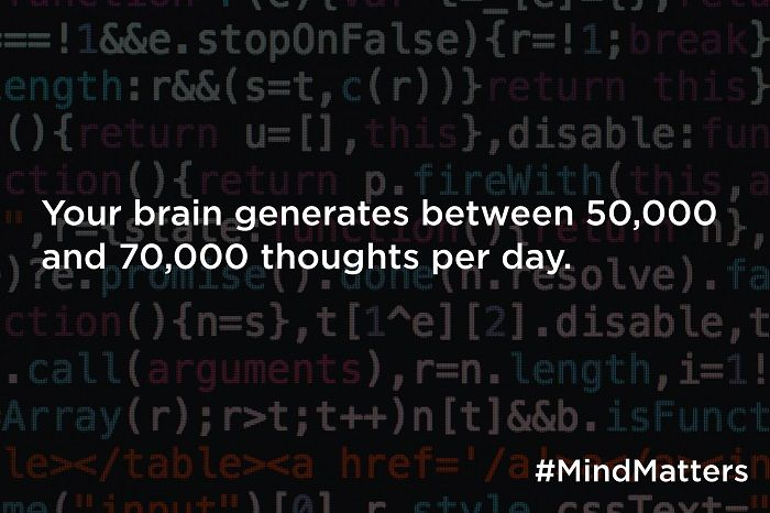 Your brain generates between 50,000 and 70,000 thoughts per day