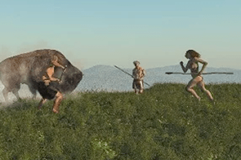 Cavemen hunting wild boar