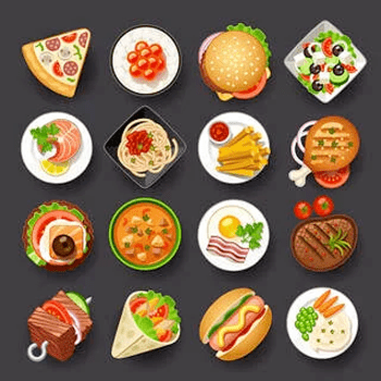 Selection of food emoji arranged in a grid