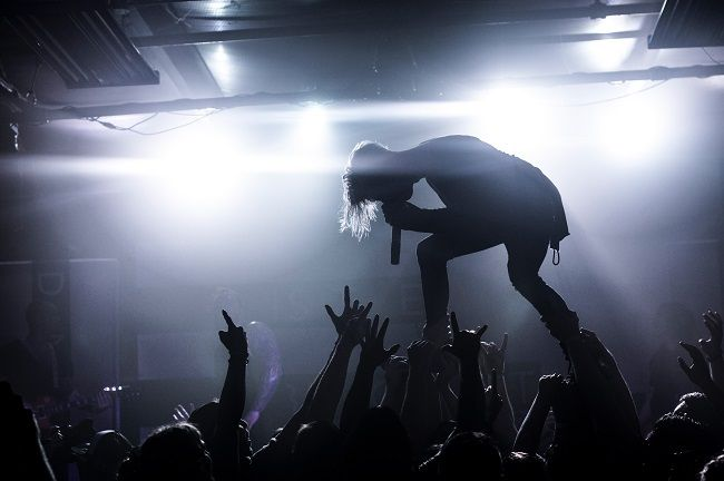 Rock singer onstage