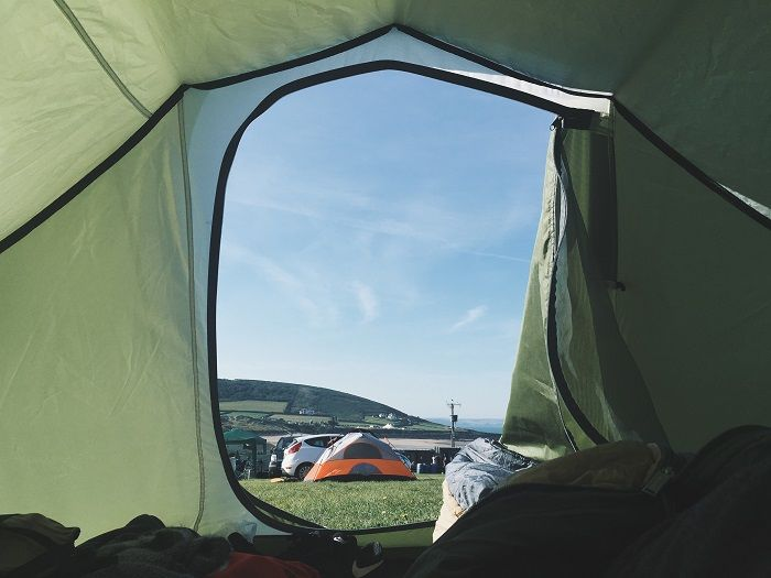 Person sleeping in a tent