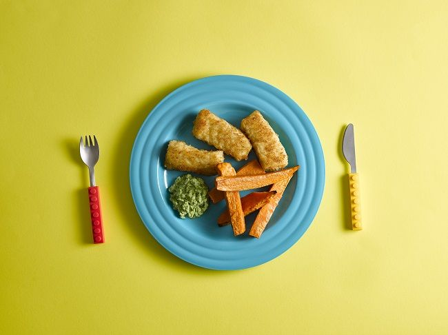 Healthy fish fingers and sweet potato wedges