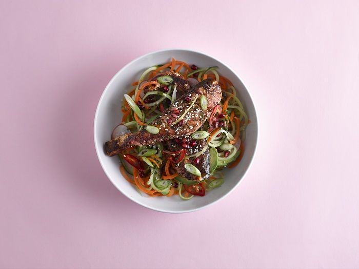 Our Tandoori Salmon with Courgetti can help your skin get the essential oils it needs.