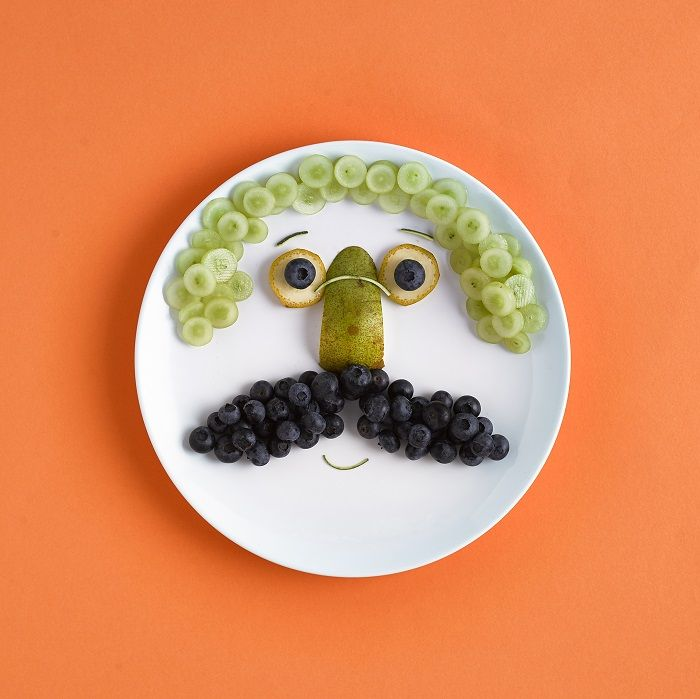 Fruit plate arranged to look like a face