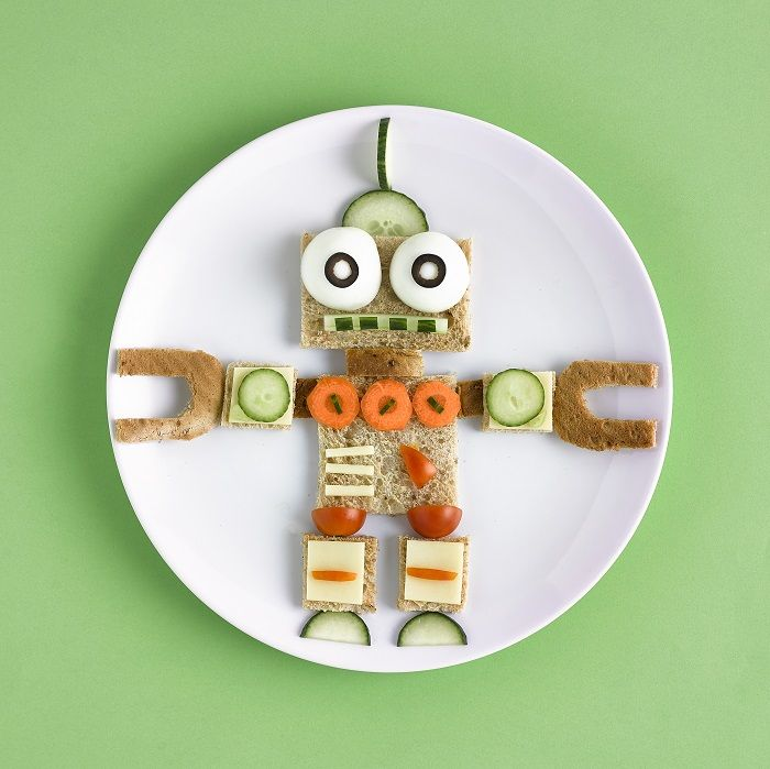 Healthy food decorated to look like a robot