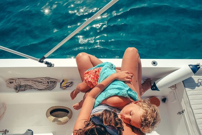 Child asleep on a boat