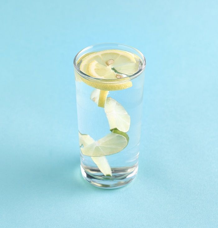 Water infused with lemon and lime