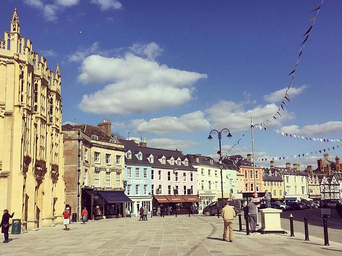 A beautiful sunny view of colourful homes in Cirencester Gloucestershire for Fresh Air Friday
