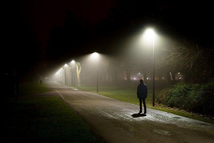 Person on a dark street