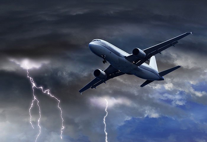 Aeroplane in a storm