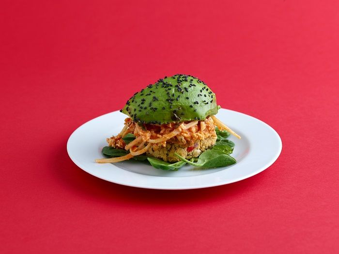 Tofu and papaya burger