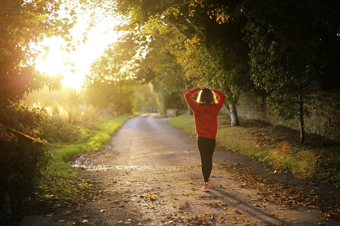 Woman exercising in the countryside