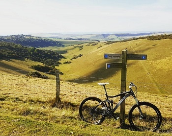 Cycling along South Downs Way