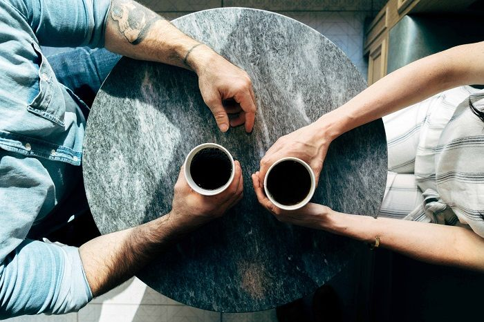 Friends chatting over coffee