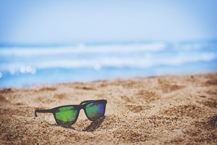 A pair of sunglasses in the sand
