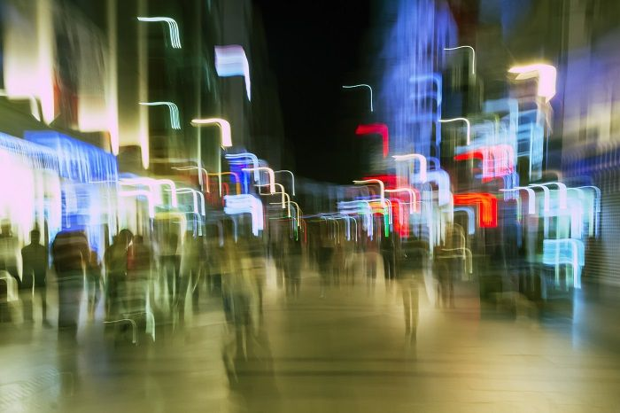 What the street might look like through the eyes of someone who's had a few too many drinks.