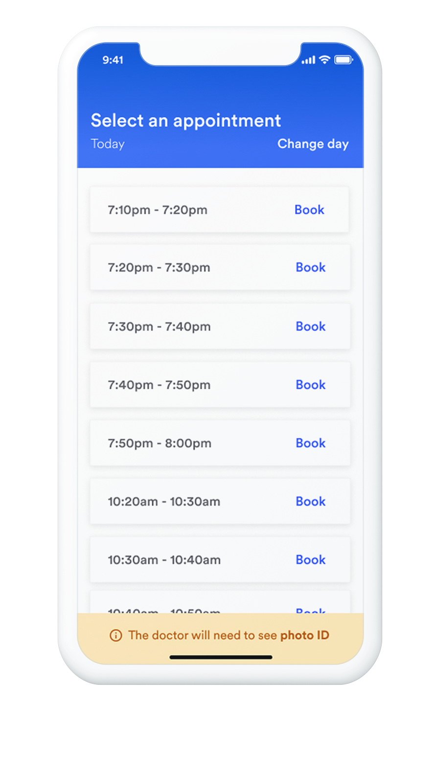 iPhone with book appointment screen