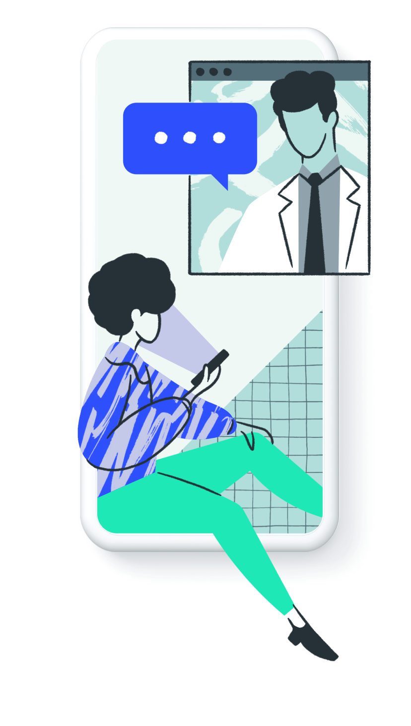 Illustration of a woman on a video consultation with a male doctor