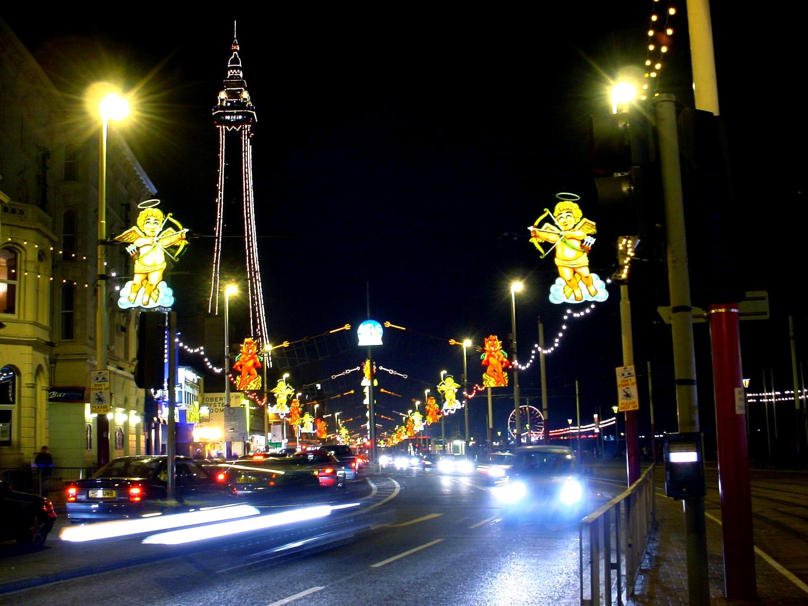 A view of blackpool tower and the sea front