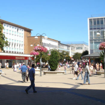 A view of a shopping centre in Crawley town centre