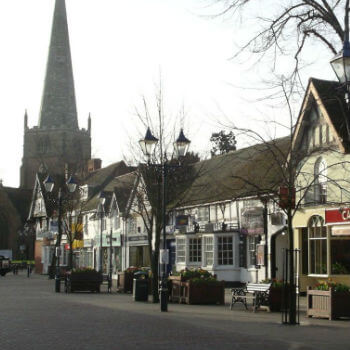 A view down a street in Solihull town centre