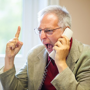 Angry man on the phone