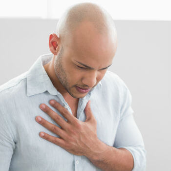Man with chest pain from shingles