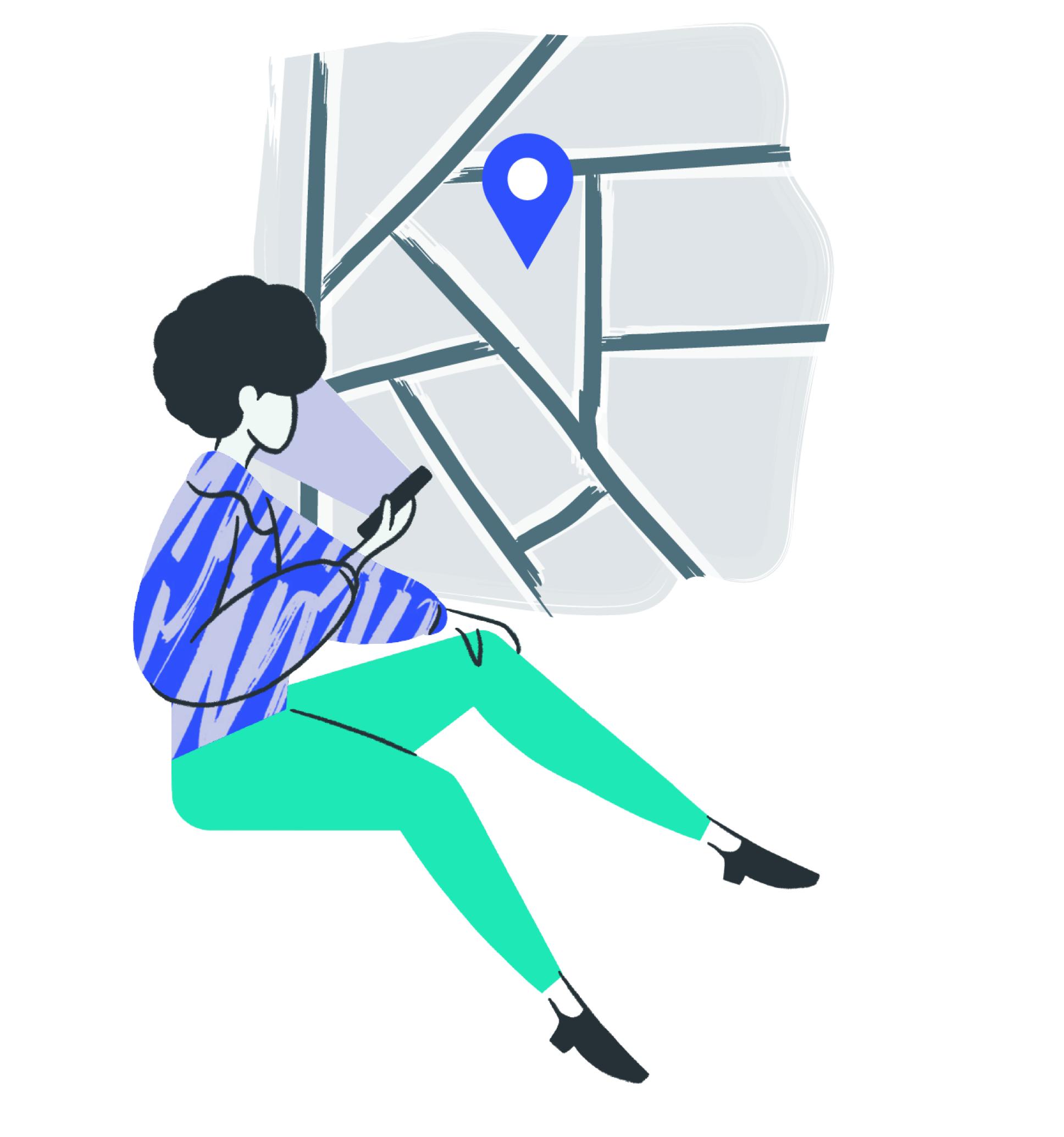 Women on map illustration 2.0