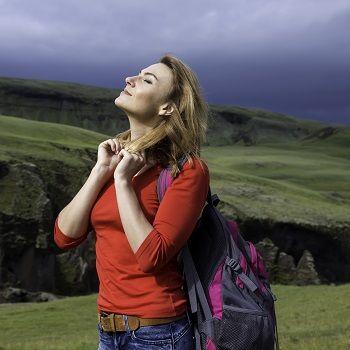 Woman breathing freely