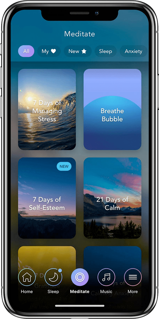Calm mindfulness app on iOS