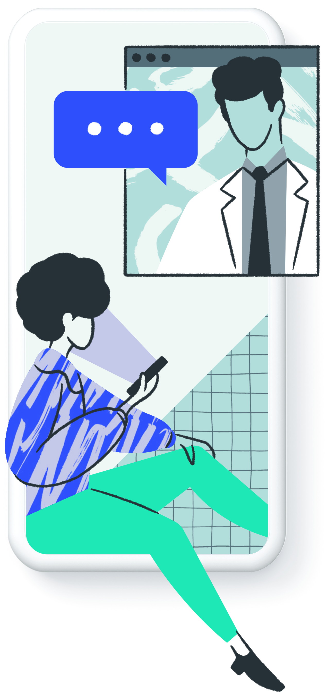 Illustration of a consultation between patient and doctor