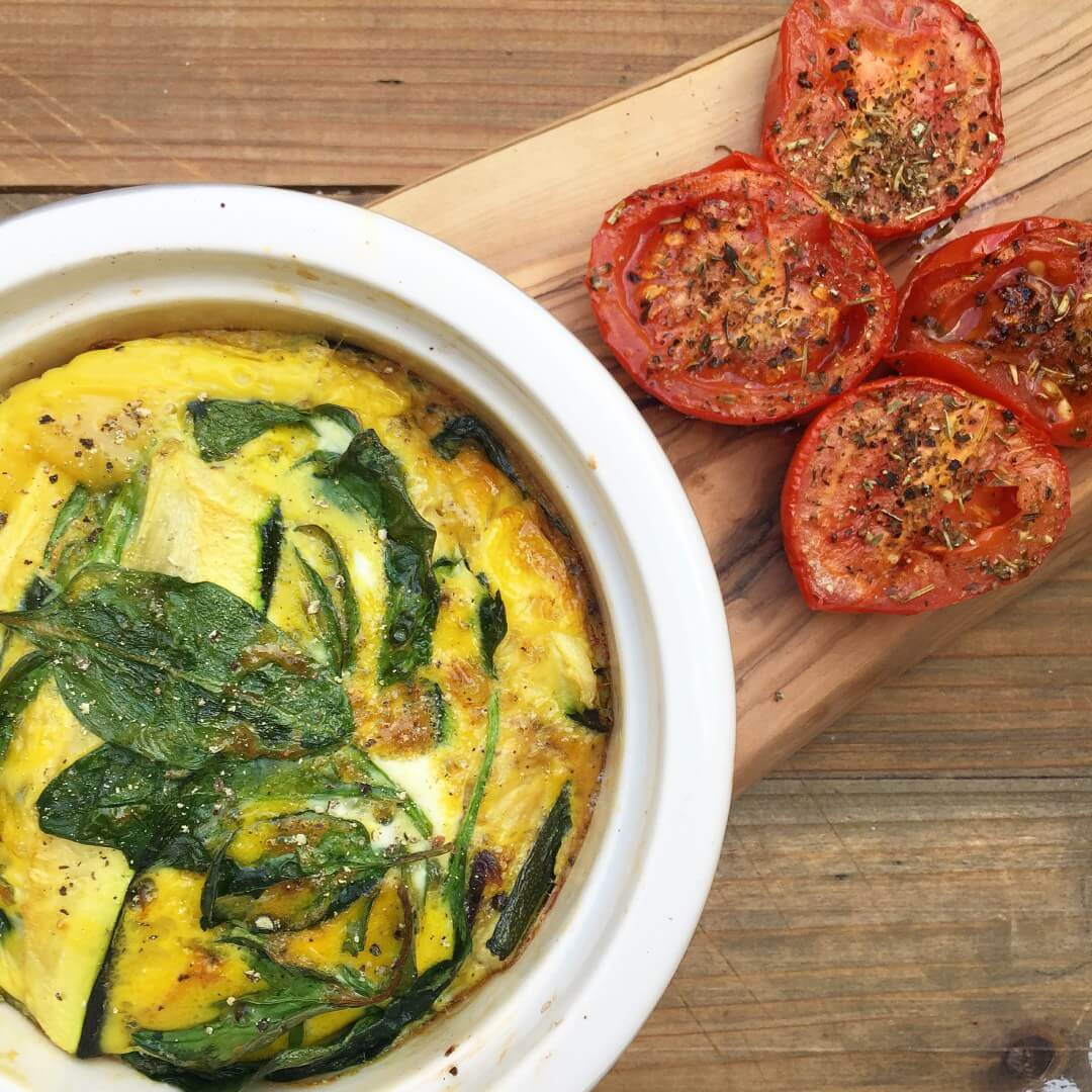 Single serve courgette and spinach frittata