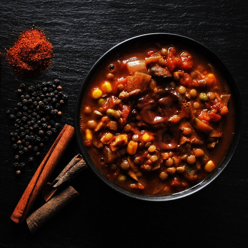 Autumn spiced chocolate and lentil chilli