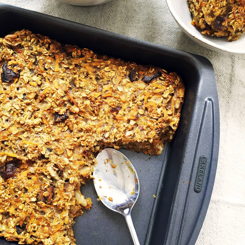 carrot cake baked oatmeal by eatwiseuk